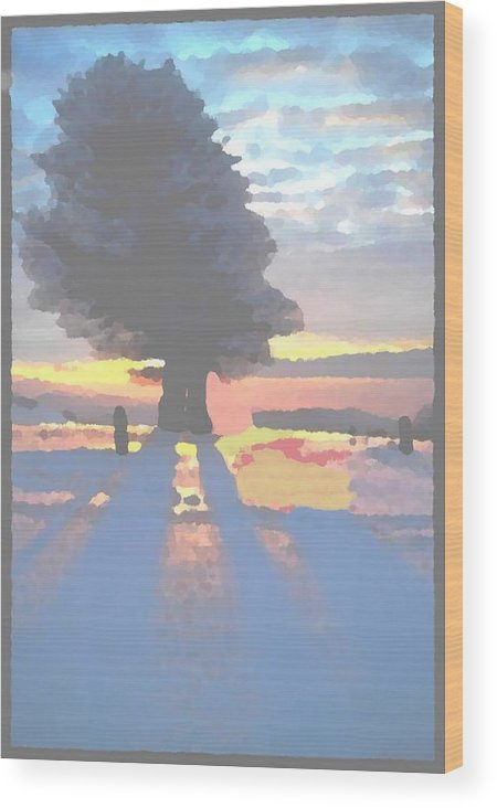 Sky.clouds.winter.sunset.snow.shadow.sunrays.evening Light.tree.far Forest. Wood Print featuring the digital art The Winter Lonely Tree by Dr Loifer Vladimir