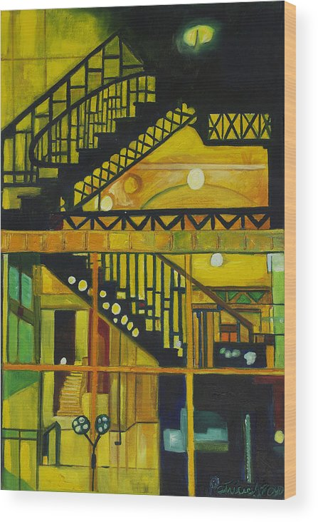 Abstract Wood Print featuring the painting Through Parisian Glass by Patricia Arroyo