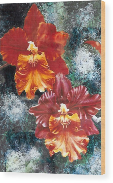 Flowers Wood Print featuring the print Tiger Orchids by JoLyn Holladay