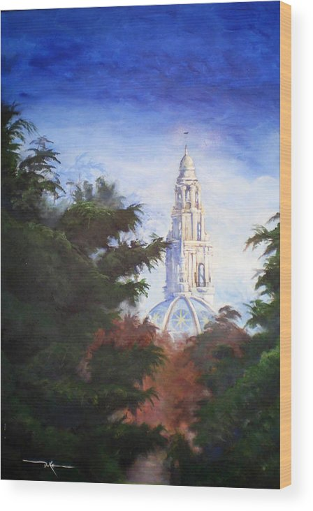 Balboa Park Wood Print featuring the painting Tower Over The Grove II by Duke Windsor
