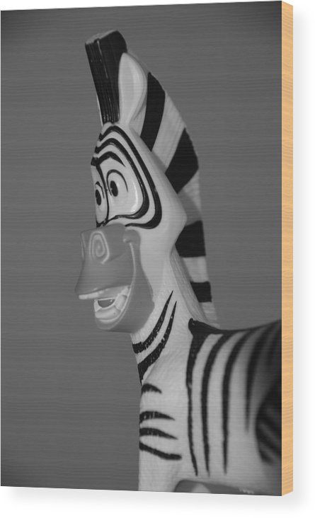 Black And White Wood Print featuring the photograph Toy Zebra by Rob Hans