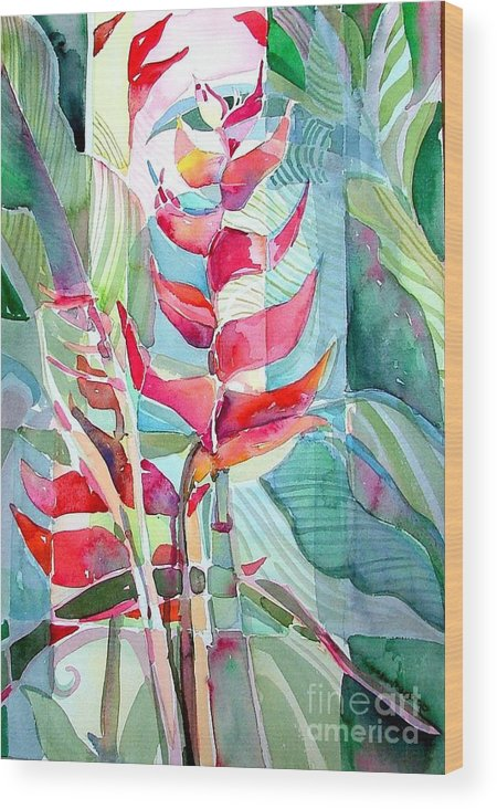 Landscape Wood Print featuring the painting Tropicana Red by Mindy Newman