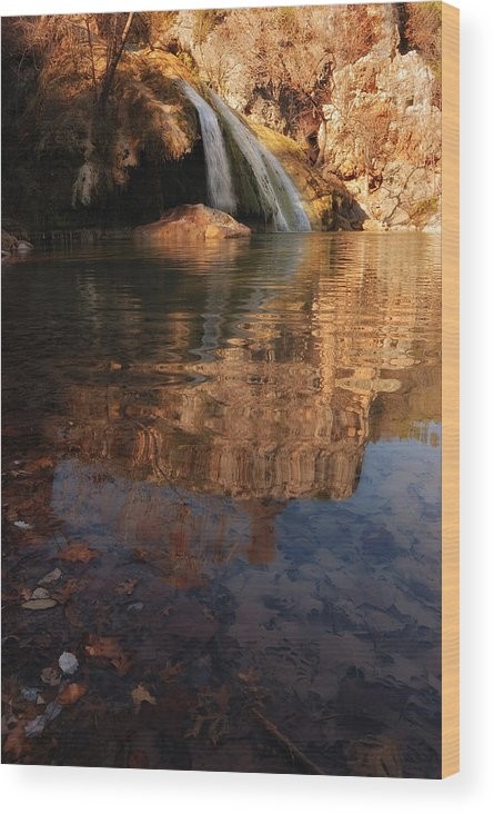 Turner Falls Wood Print featuring the photograph Turner Falls Autumn Reflections by Iris Greenwell