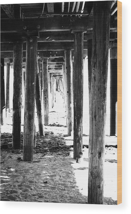 Pier Wood Print featuring the mixed media Under The Pier by Linda Woods