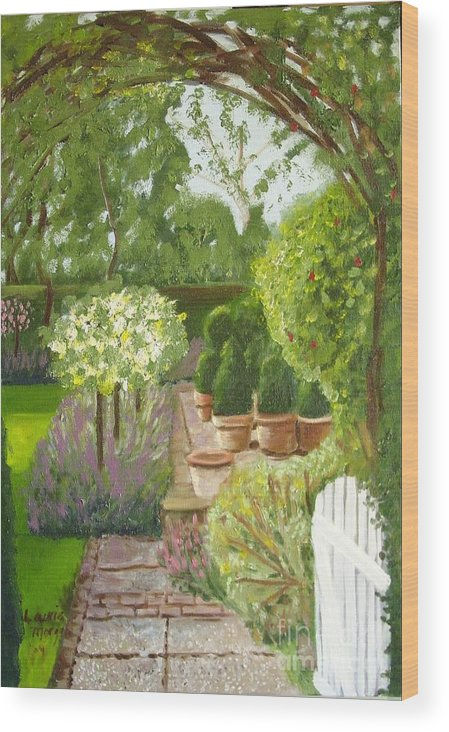 Garden Wood Print featuring the painting Walk With Me by Laurie Morgan