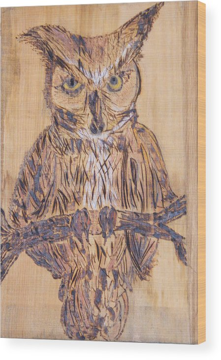 Owls Woodburns Nature Wood Print featuring the pyrography Watching You by Margaret G Calenda
