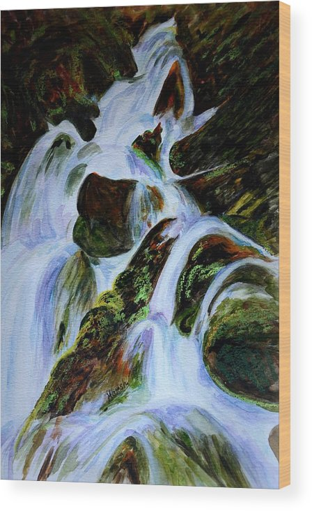 Water Fall Wood Print featuring the painting Energy Of Water by Harsh Malik