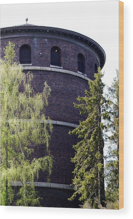Historic Water Tower Wood Print featuring the photograph Water Tower by Sonja Anderson