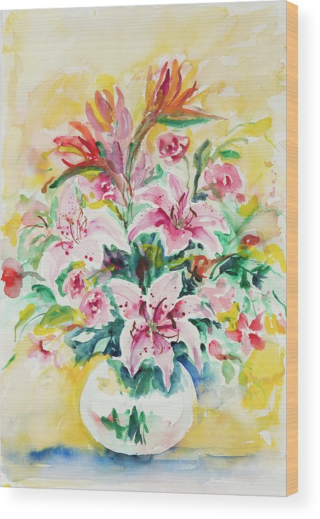 Flowers Wood Print featuring the painting Watercolor Series 141 by Ingrid Dohm