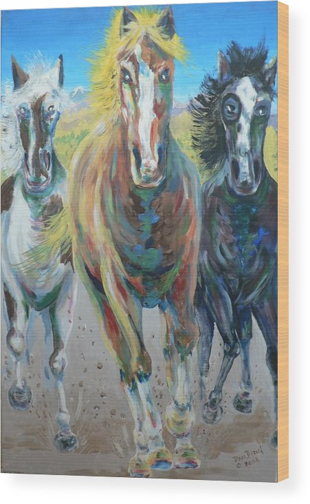 Three Wood Print featuring the painting Wild And Free by Dan Bozich