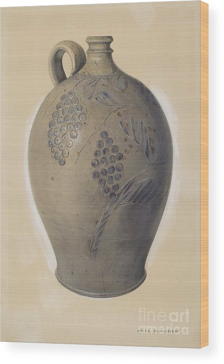 Wood Print featuring the drawing Wine Jug by Fritz Boehmer