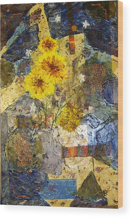 Abstract Wood Print featuring the painting Winter Flowers by Terry Honstead
