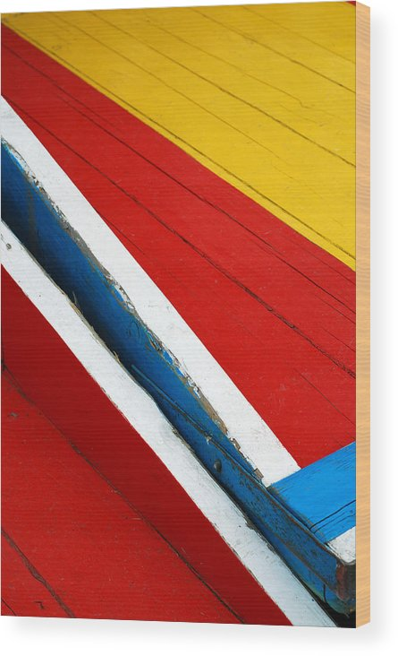 Red Wood Print featuring the photograph Xochimilco Boat Abstract 1 by Skip Hunt