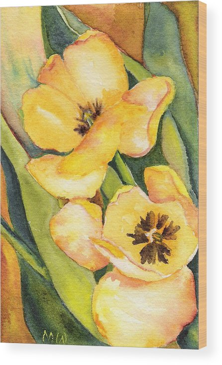 Yellow Tulips Flower Garden Green Painting Watercolor Wood Print featuring the painting Yellow Tulips by Marsha Woods