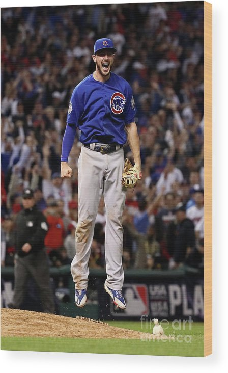 People Wood Print featuring the photograph World Series - Chicago Cubs V Cleveland 20 by Ezra Shaw