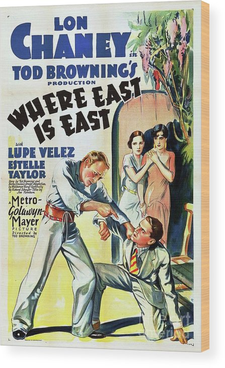 Lon Wood Print featuring the painting Classic Movie Poster - Where East Is East by Esoterica Art Agency