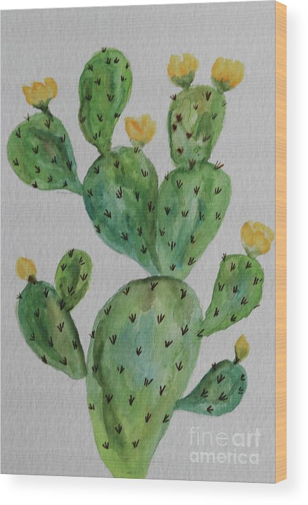 Cactus Wood Print featuring the painting Desert Garden Beauty by Christiane Schulze Art And Photography