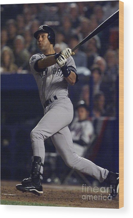 People Wood Print featuring the photograph Derek Jeter by Jed Jacobsohn