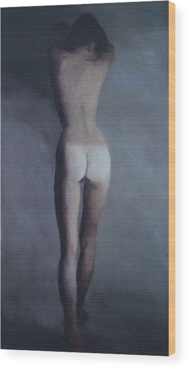 Nude Wood Print featuring the painting Dreaming by Masami Iida