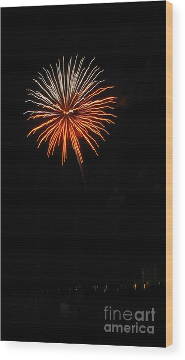 Fireworks Wood Print featuring the photograph Fireworks - White And Orange by Gayle Melges
