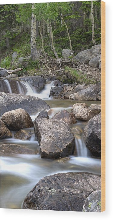 Waterfall Wood Print featuring the photograph Glacier Gorge Cascade by Samantha Schram