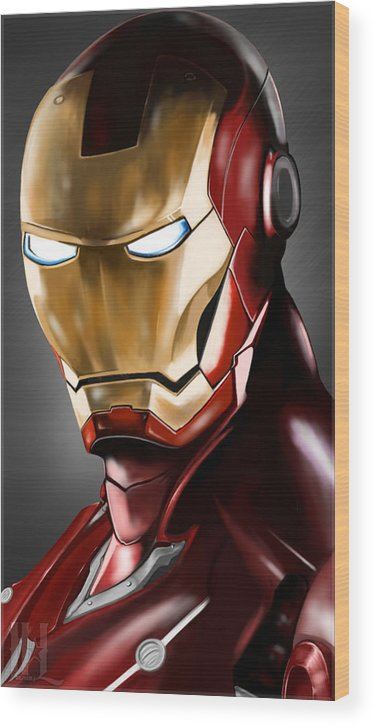 Ironman Drawing Wood Print featuring the drawing Iron Man Painting by Luis Padilla