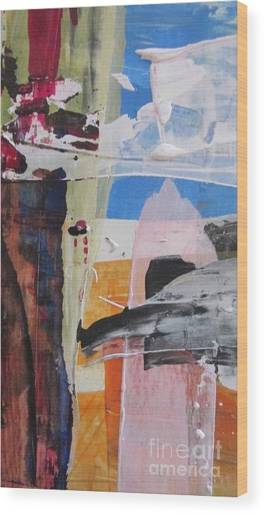 Abstract Sunny Day Wood Print featuring the painting One Sunny Afternoon by Omar Hafidi