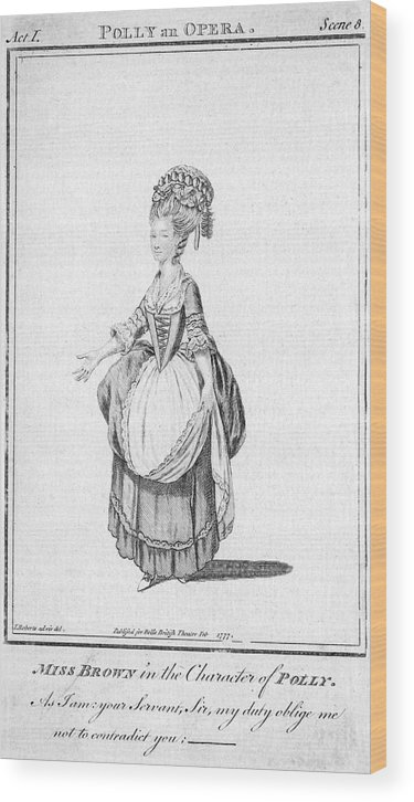 Music Wood Print featuring the drawing 'polly' By John Gay - Miss Brown by Mary Evans Picture Library