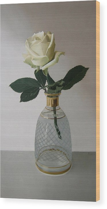 Rose Wood Print featuring the painting Rose II by Andrej Cesiulevic