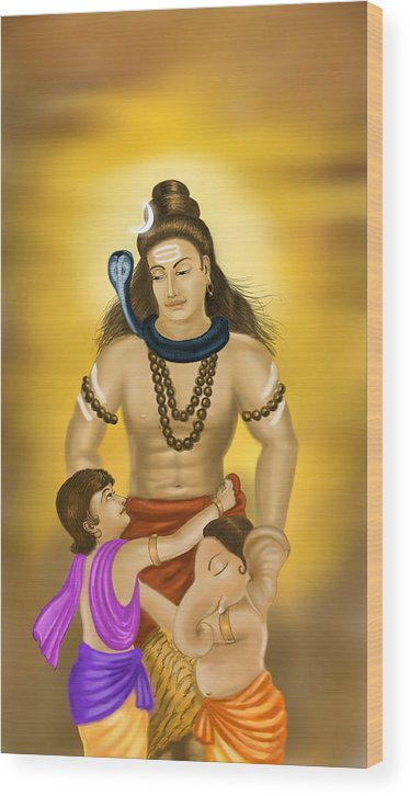 Shiv Wood Print featuring the painting Shiva Family. by Mayur Sharma