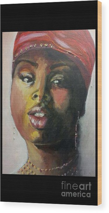 African Woman Wood Print featuring the painting Woman by Cathy Visconte