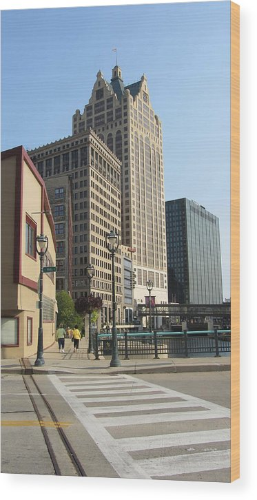 Milwaukee Wood Print featuring the photograph Riverwalk Crossing by Anita Burgermeister