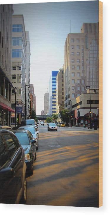 Milwaukee Wood Print featuring the photograph Wisconsin Avenue 2 by Anita Burgermeister