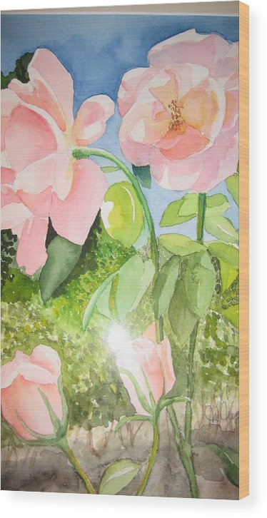 Flowers Wood Print featuring the painting Pink Dream by Mabel Moyano