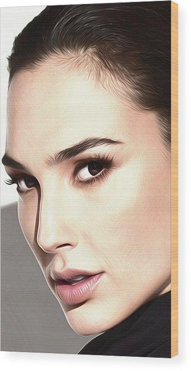 Gal Gadot Wood Print featuring the digital art Gal Gadot Poster by Lilia Kosvintseva
