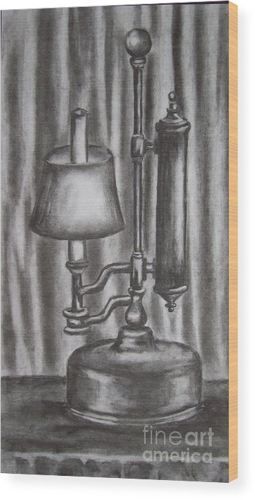 Lamp Wood Print featuring the drawing Antique Lamp In Charcoal by Alan Hogan