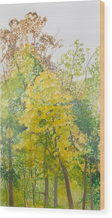 Autumn Wood Print featuring the painting Backyard by Leah Tomaino