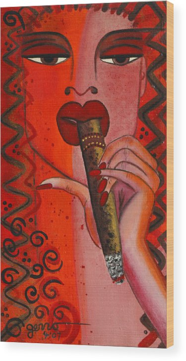Cigar Artwork Wood Print featuring the painting Cigar Moment Corona Cigar by Helen Gerro