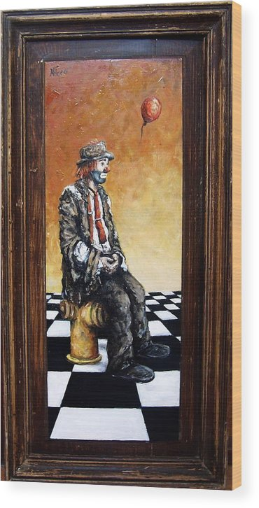 Clown Man Figurative Figure Human Surrealism Chess Emotion Wood Print featuring the painting Clown S Melancholy by Natalia Tejera