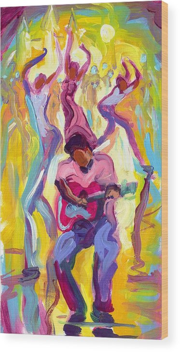 Dancing Wood Print featuring the painting Dancing In The Streets by Saundra Bolen Samuel