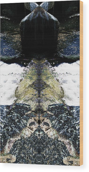 Waterfall Wood Print featuring the ceramic art Escapism by Revantide Afterburner