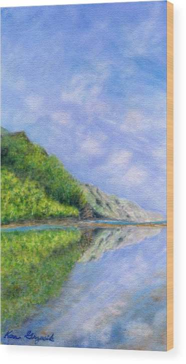 Rainbow Colors Pastel Wood Print featuring the painting In Reflection by Kenneth Grzesik
