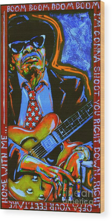 Johnny Lee Hooker Wood Print featuring the painting Johnny Lee Hooker by Tami Curtis