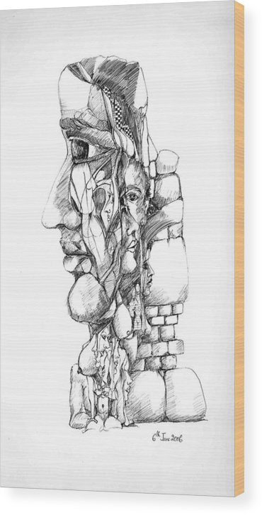 Forms Wood Print featuring the drawing Mental Images 1 by Padamvir Singh
