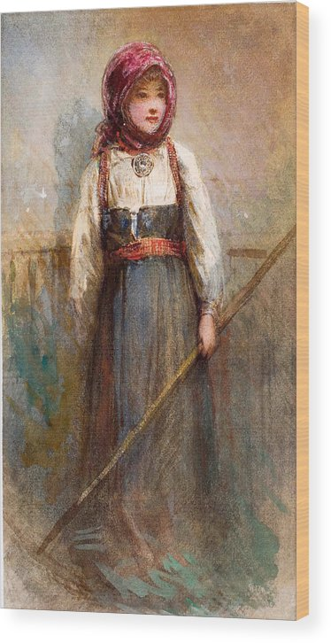 Egron Sellif Lundgren Wood Print featuring the drawing Norwegian Girl by Egron Sellif Lundgren