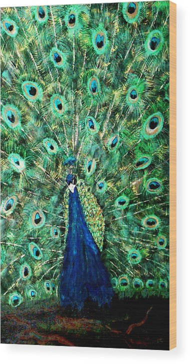 Peacock Wood Print featuring the painting Peacock by Mikki Alhart