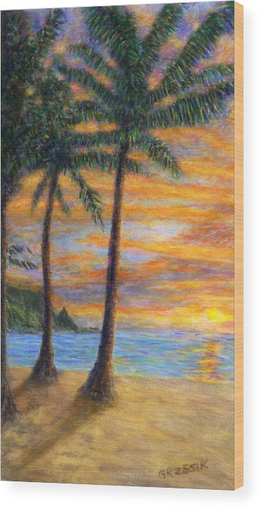 Coastal Decor Wood Print featuring the painting Princeville Beach Palms by Kenneth Grzesik