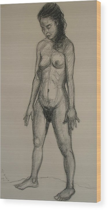 Realism Wood Print featuring the drawing Standing Nude 5 by Donelli DiMaria