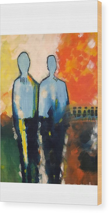Abstract Wood Print featuring the painting Standing Strong by Gallery Messina