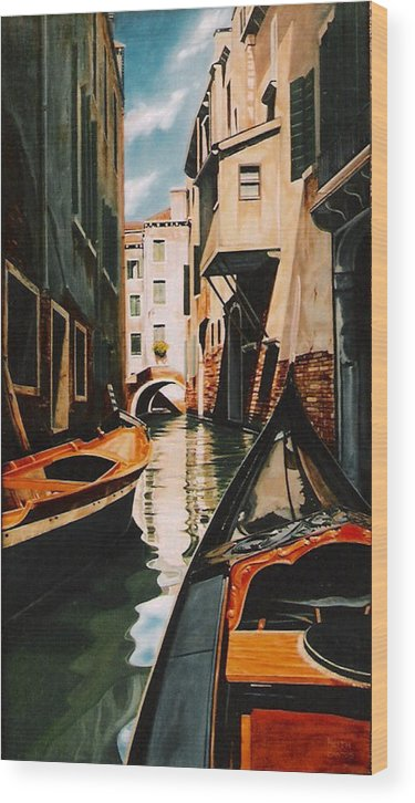 Italy Wood Print featuring the painting Venice - Gondola Ride by Keith Gantos